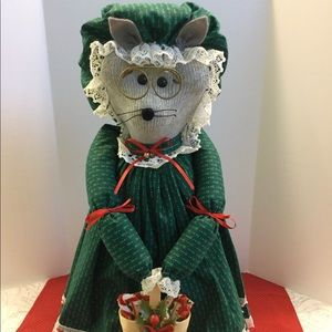 "Handcrafted Christmas Mouse Figure 16"" Tall"